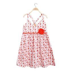 Đầm bé gái 2 dây chéo lưng hoa xinh xắn màu cam - size 7