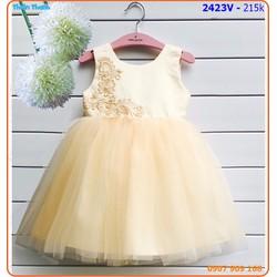 Đầm công chúa thêu hoa và kết hạt ngọc trai xinh xắn cho bé yêu