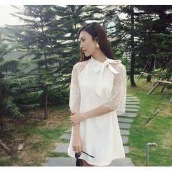 Đầm Suông Trắng Tay Ren Nơ Cổ