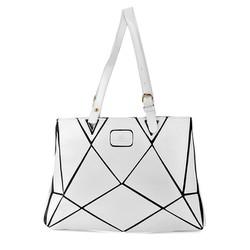 Túi xách phối viền tam giác B0011 màu trắng