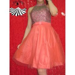 Đầm công chúa kim sa phối lưới