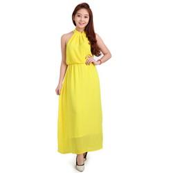 Đầm Maxi  cổ yếm dạo phố thời trang màu vàng