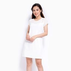Đầm suông phối ren trắng