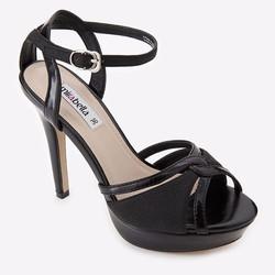 Giày Sandal cao gót quai đan 379A màu đen