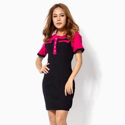 Đầm công sở màu  đen phối hồng đắp túi
