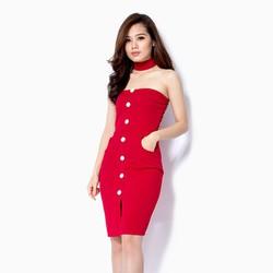 Đầm body cúp ngực kèm dây nơ cổ màu đỏ