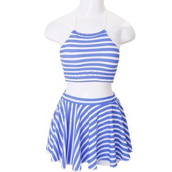 Set đồ bơi áo yếm quần váy họa tiết sọc xanh