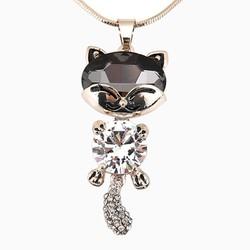 Dây chuyền mèo đính đá màu xám