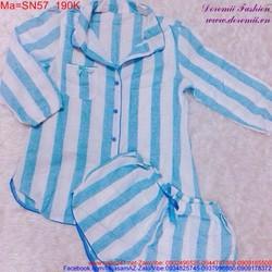 Bộ đồ ngắn mặc nhà hình sọc xanh, tay dài đáng iu SN57