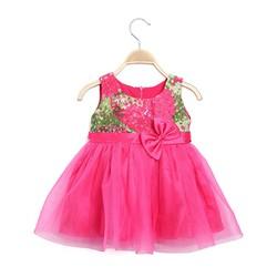Đầm công chúa cao cấp HT  hoa xòe đáng yêu màu hồng - size 2