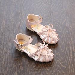 Sandal bé gái đan dây phối nơ mùa hè xinh xắn size lớn