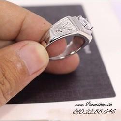 Nhẫn inox cẩn đá trắng sang trọng