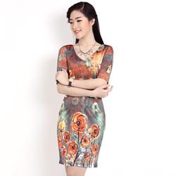 Đầm thun Zara tay lửng họa tiết xuất khẩu