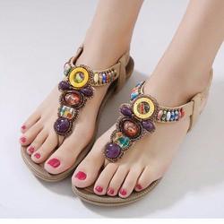 Giày sandal đế bằng nữ thổ cẩm hàng nhập - LN1318