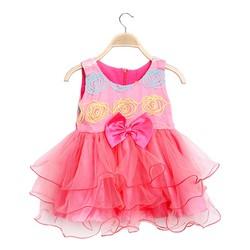 Đầm công chúa cao cấp đính nơ eo xinh xắn màu hồng - size 7