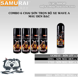 Combo 6 chai sơn trọn Samurai trọn bộ xe Wave A màu đen bạc