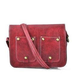 Túi hộp đeo chéo đính túi B0015 màu đỏ rượu