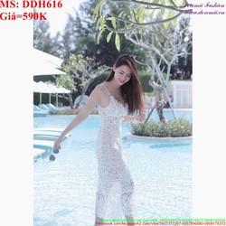 Đầm 2 dây dự tiệc sang trọng thời trang chất liệu ren cao cấp DDH616