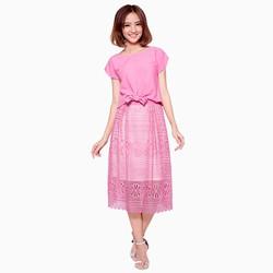 Set áo croptop  chân váy ren cao cấp màu hồng Polaris14