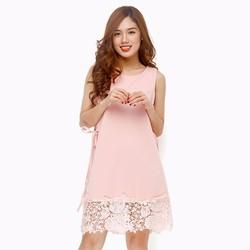 Đầm thời trang suông phối ren trẻ trung màu hồng