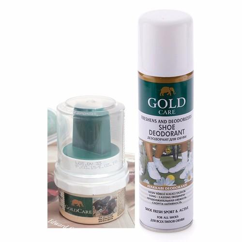 Combo GoldCare - Chai xịt khử mùi hôi giày GC3003 và Dầu bóng GC5002