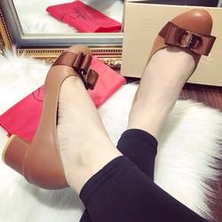 Giày cao gót bít mũi đế vuông nữ nơ xinh