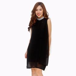Đầm suông cổ phối viền phong cách màu đen