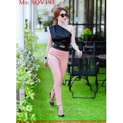 Sét áo kiểu lệch vai và quần dài ôm sành điệu xinh đẹp SQV193