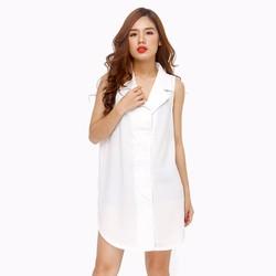 Áo thời trang form dài dáng vest trẻ trung màu trắng