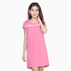 Đầm suông phối lưới ngực cho bạn gái màu hồng