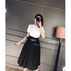 Set áo thun chân váy nút kaki hàng thiết kế - MS: S090872 Gs 160k