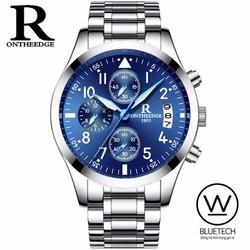 Đồng hồ R-Ontheedge chạy 6 kim chính hãng Dây thép trắng mặt Xanh