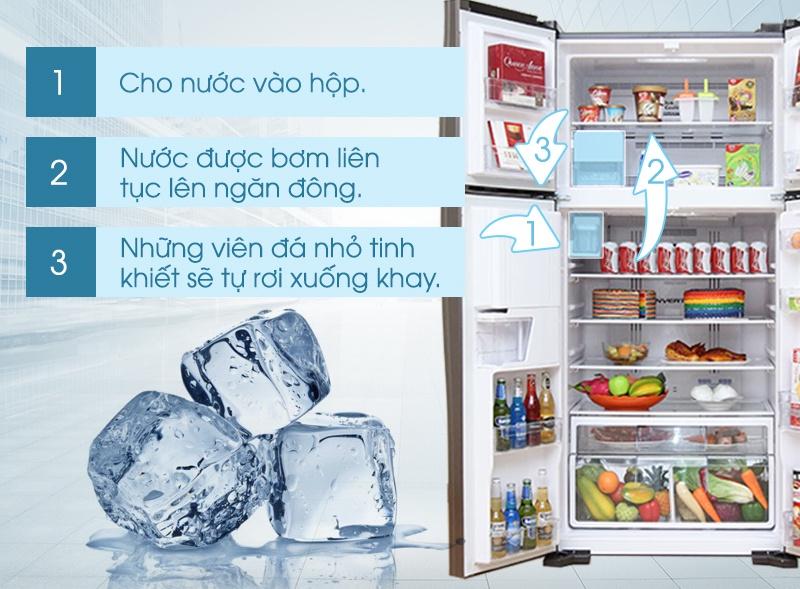 Tủ lạnh Hitachi R-W660FPGV3X có chế độ làm đá tự động