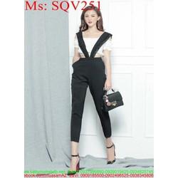 Sét áo kiểu bẹt vai phối quần dài 2 dây sành điệu phong cách SQV251