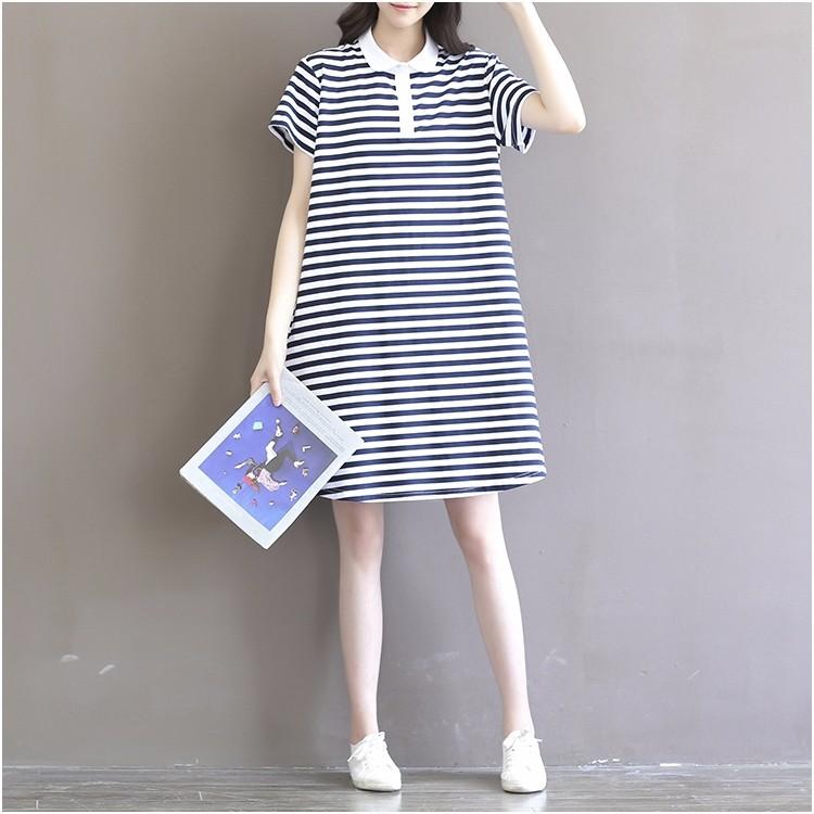 Đầm bầu cộc tay thời trang, thiết kế dáng chữ A, họa tiết kẻ ngang 9