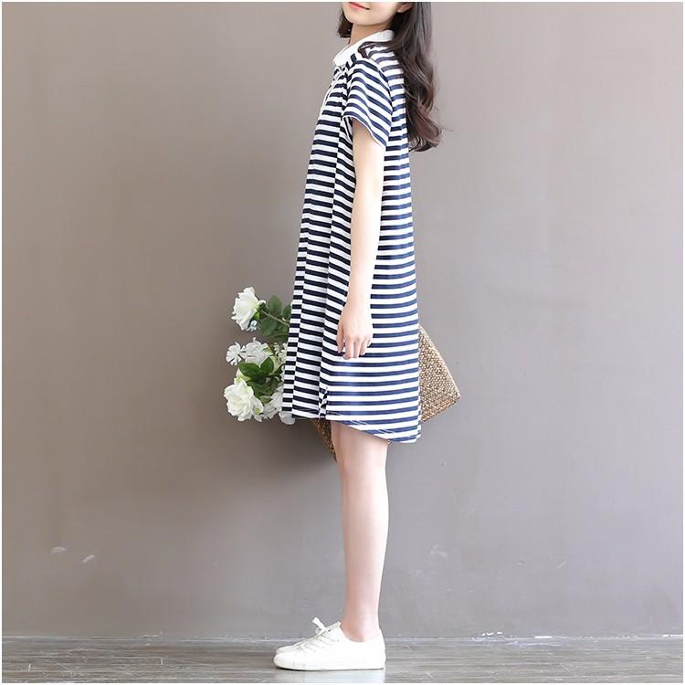 Đầm bầu cộc tay thời trang, thiết kế dáng chữ A, họa tiết kẻ ngang 7