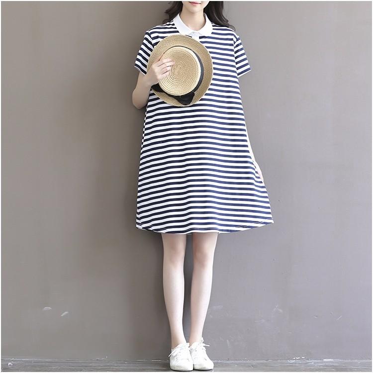 Đầm bầu cộc tay thời trang, thiết kế dáng chữ A, họa tiết kẻ ngang 5