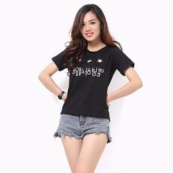 Áo thun nữ tay ngắn màu đen họa tiết chữ Hàn Quốc MS111