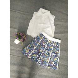 Set áo croptop kèm chân váy họa tiết