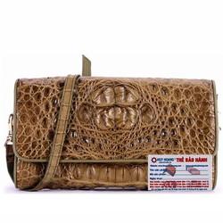 Túi xách nữ da cá sấu đeo chéo màu rêu