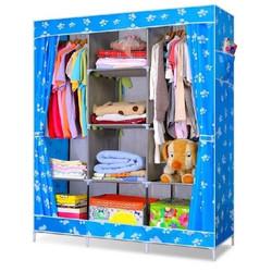 Tủ vải quần áo 3 buồng 8 ngăn cỡ lớn xanh