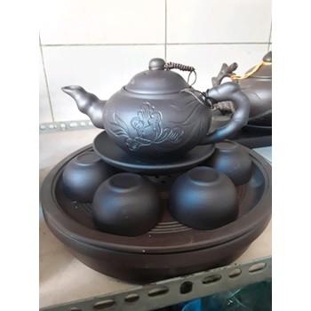 Bộ trà gốm Bát Tràng Khay gốm tròn 2 tầng - BOTRAGOM280