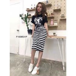 Set bộ áo thun hình người chân váy sọc  - MS: S100834 Gs: 135K
