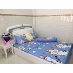Bộ Chăn Drap Giường Cotton Lụa Mèo Con Tinh Nghịch Tmark 180 x 200cm