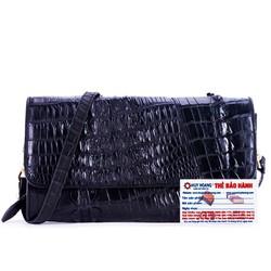 Túi xách nữ da cá sấu đeo chéo 2 gai màu đen