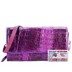 Túi xách nữ da cá sấu đeo chéo 2 gai màu tím