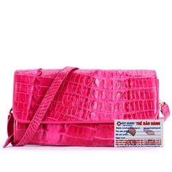 Túi xách nữ da cá sấu đeo chéo 2 gai màu hồng