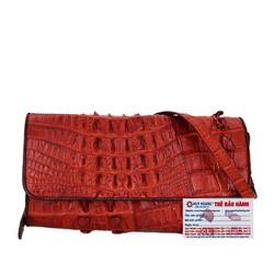 Túi xách nữ da cá sấu đeo chéo 2 gai màu nâu đỏ