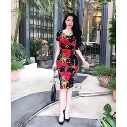 Đầm boddy hoa tiết hoa cẩm chướng