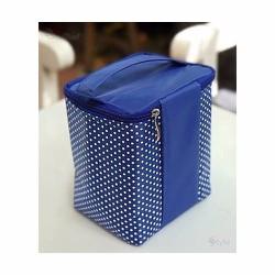 Túi giữ nhiệt vải dù chấm bi nhỏ xanh 14x12x18cm. TX30